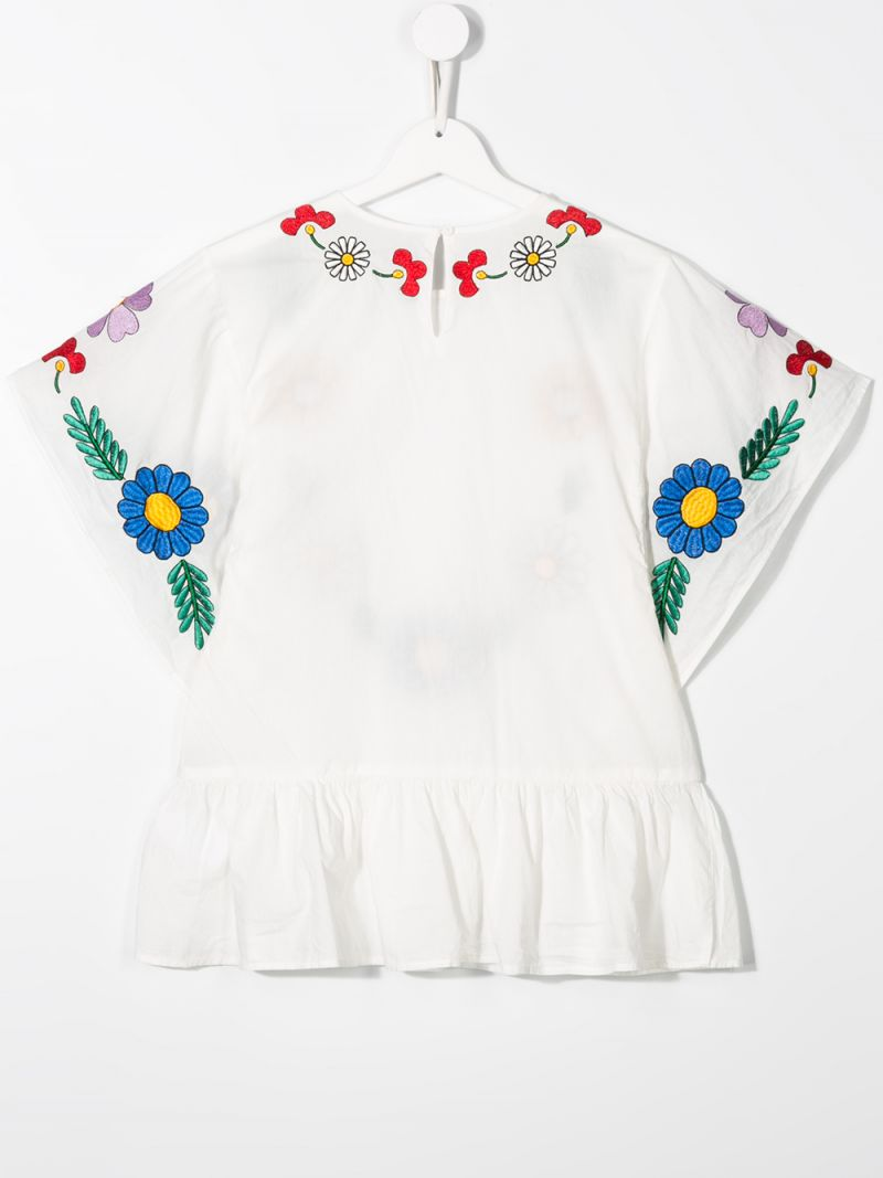 STELLA McCARTNEY KIDS: floral embroidered cotton blouse Color Grey_2