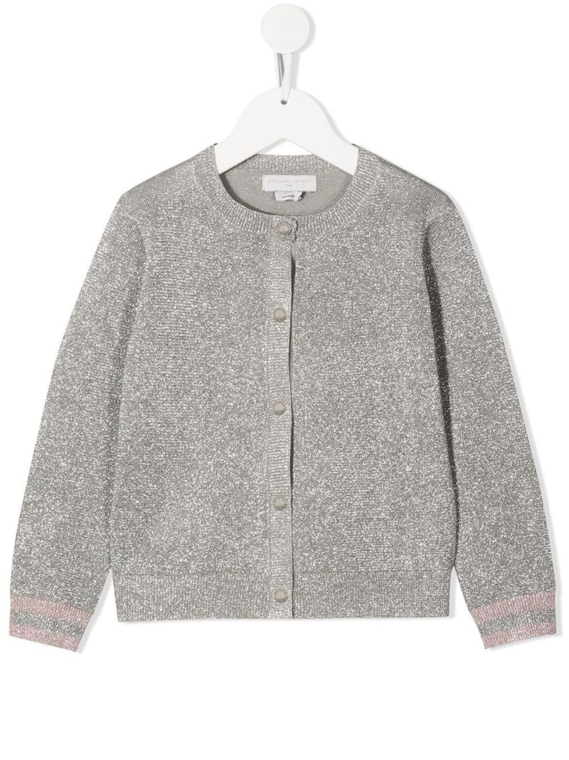 STELLA McCARTNEY KIDS: lurex knit cardigan Color Silver_1