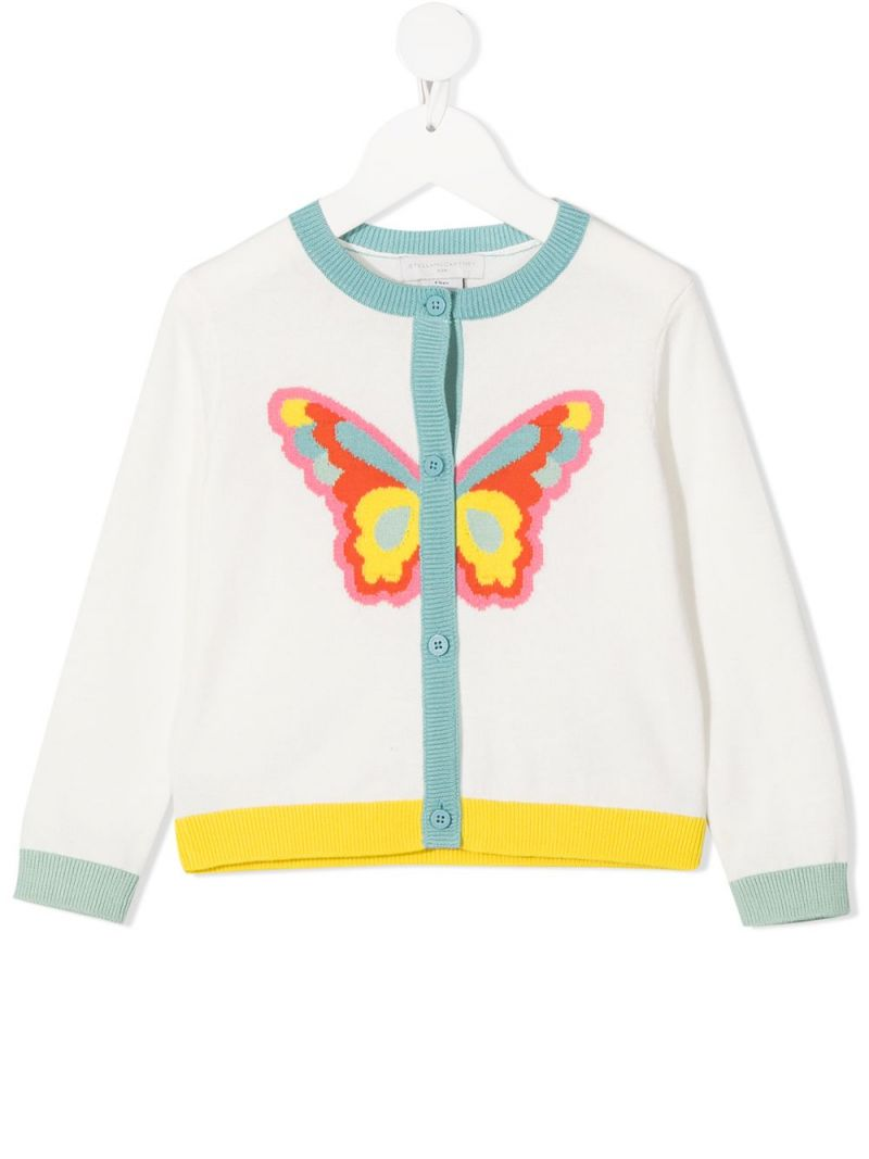 STELLA McCARTNEY KIDS: butterfly intarsia cotton cardigan Color White_1