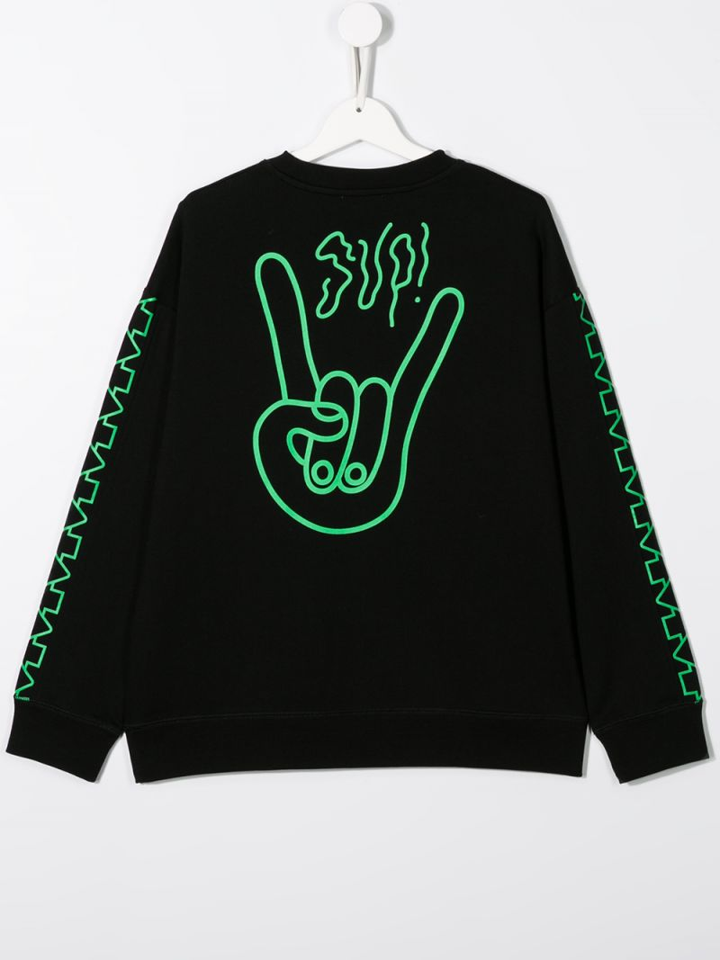 STELLA McCARTNEY KIDS: Sup! print cotton oversize sweatshirt Color Black_2