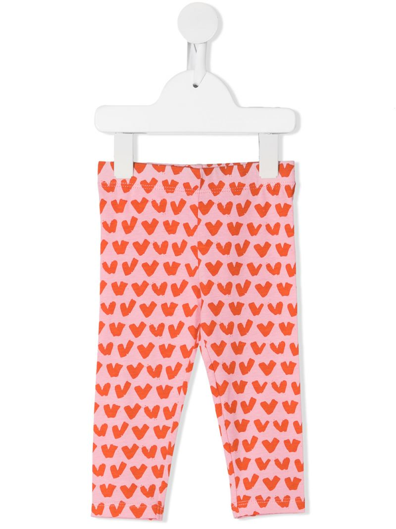 STELLA McCARTNEY KIDS: hearts print cotton leggings Color Pink_1