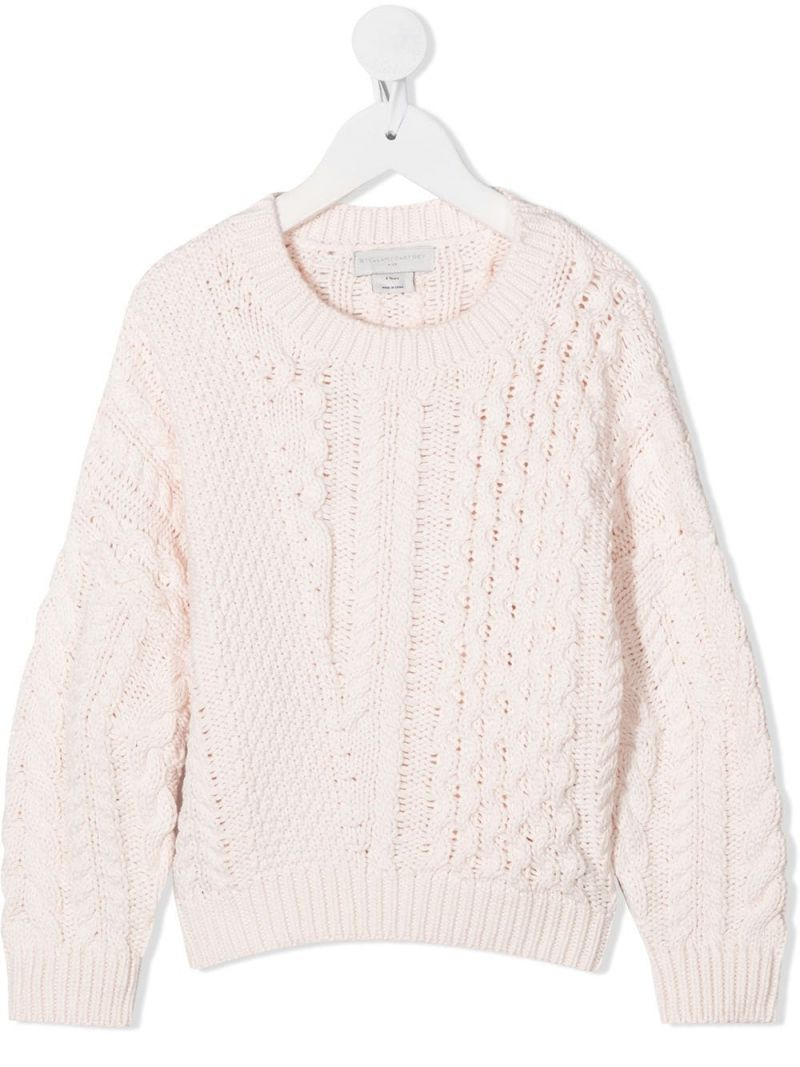STELLA McCARTNEY KIDS: cotton wool blend cable-knit pullover Color Pink_1