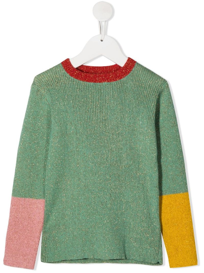 STELLA McCARTNEY KIDS: colour-block lurex pullover Color Green_1