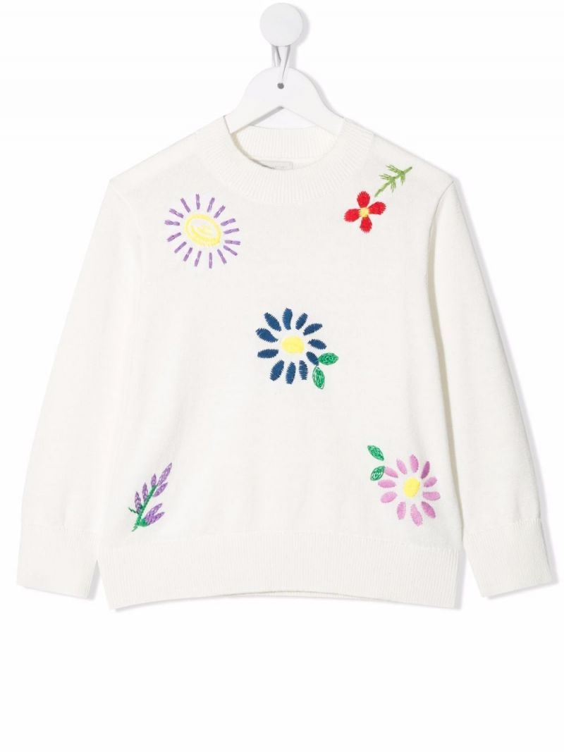 STELLA McCARTNEY KIDS: floral embroidered wool cotton blend pullover Color White_1