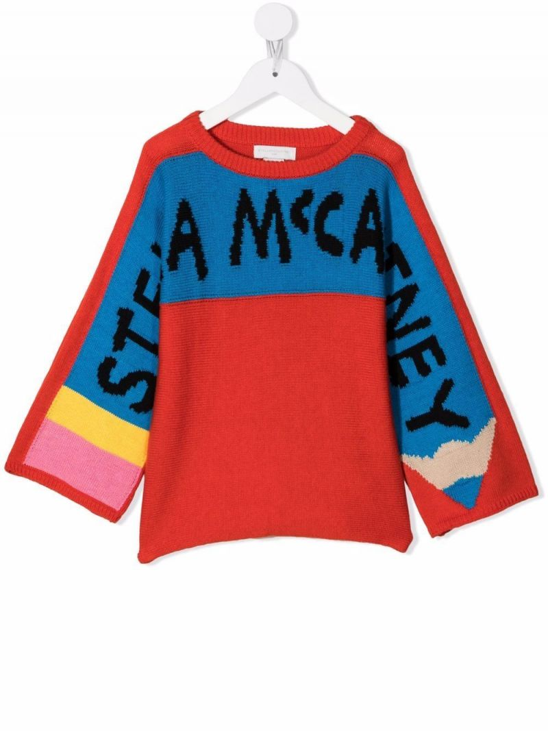 STELLA McCARTNEY KIDS: Pencil wool cotton blend pullover Color Red_1