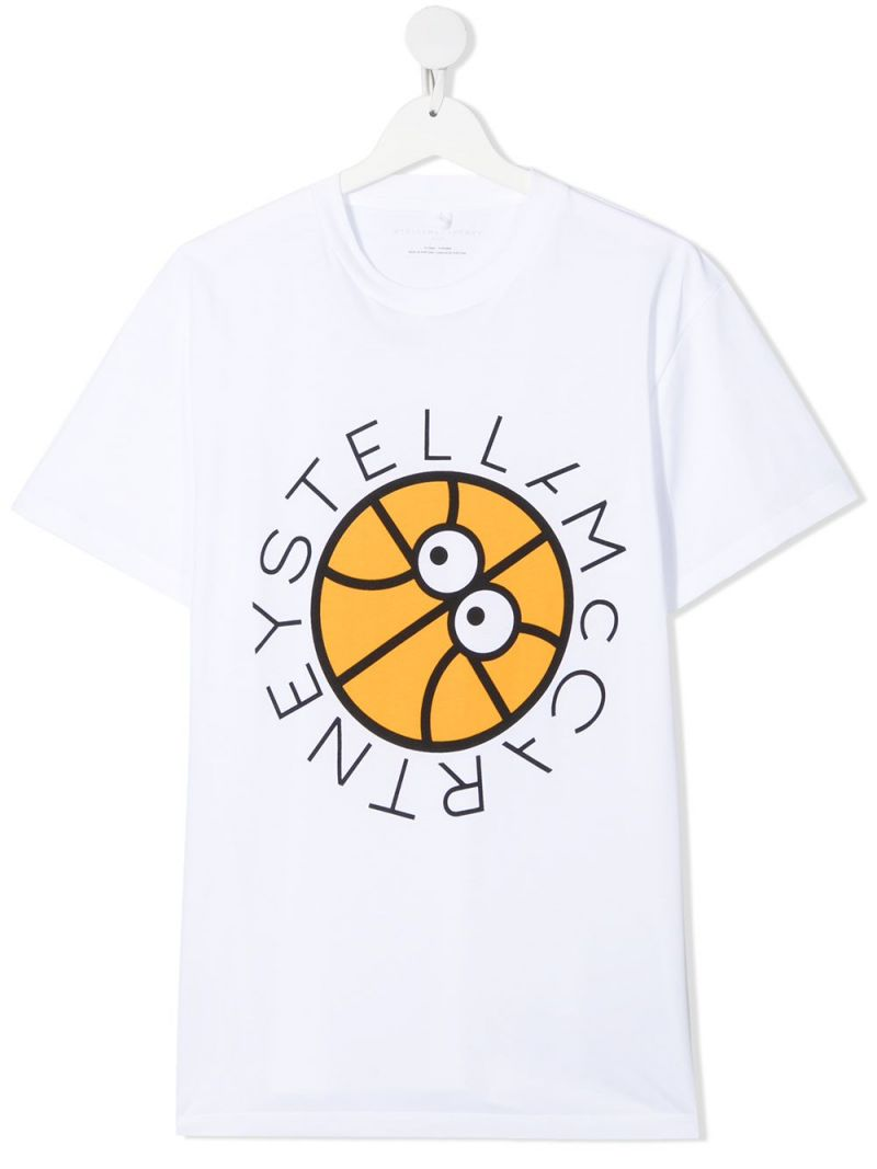 STELLA McCARTNEY KIDS: Basketball logo organic cotton oversize t-shirt Color White_1