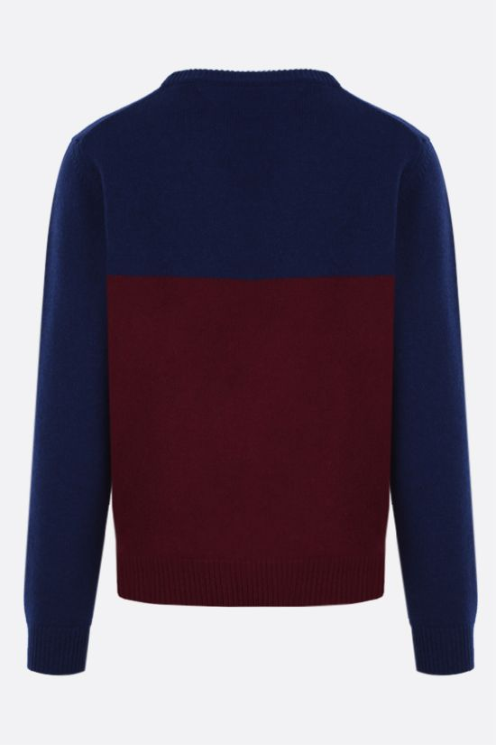 MAISON KITSUNÈ: Fox Head intarsia wool pullover Color Blue_2