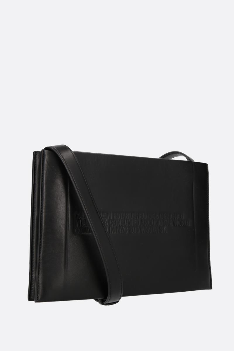 CALVIN KLEIN 205W39NYC: Geometric leather crossbody bag Color Black_2