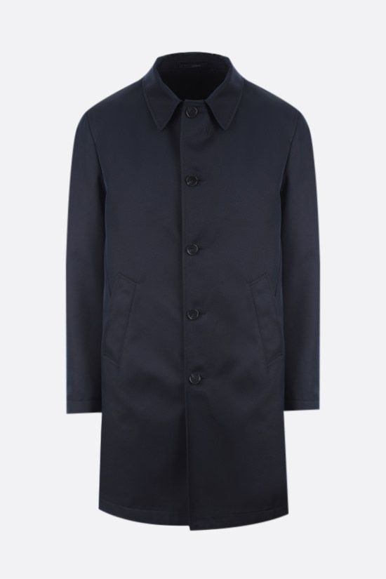 LARDINI: single-breasted twill overcoat Color Blue_1
