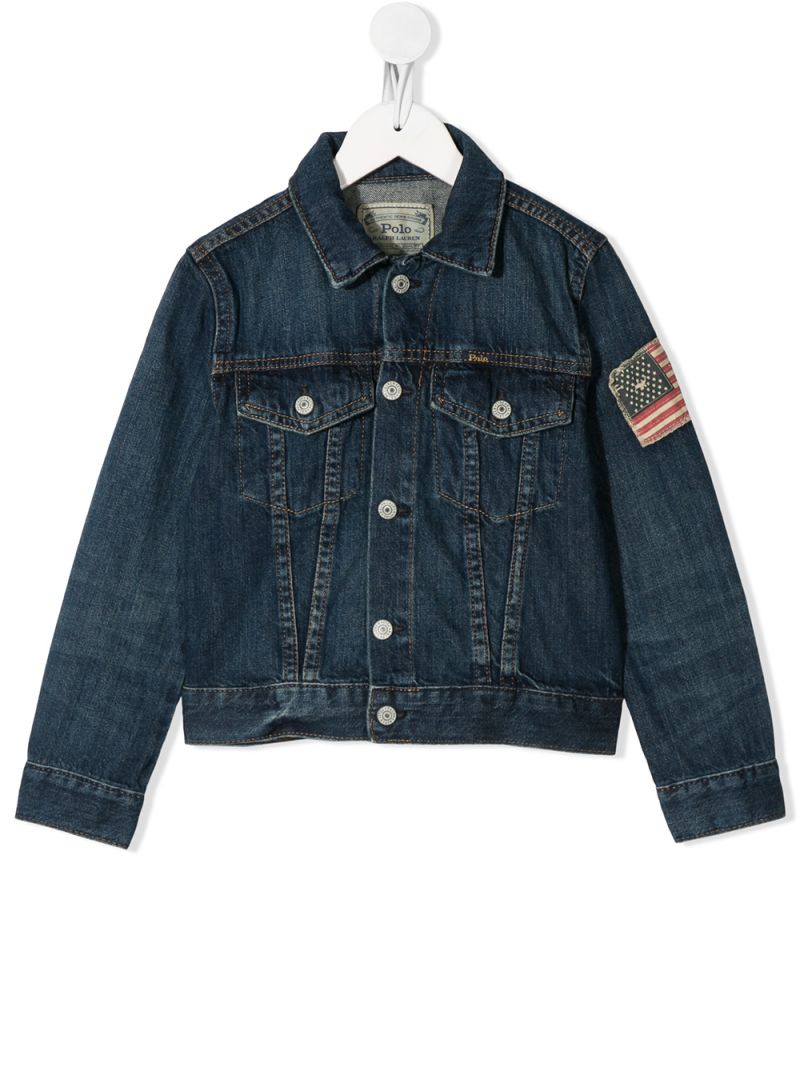 RALPH LAUREN KIDS: American Flag patch denim jacket Color Blue