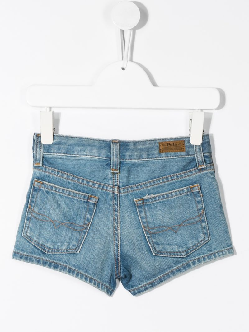 RALPH LAUREN KIDS: logoed band-detailed denim shorts Color Blue_2