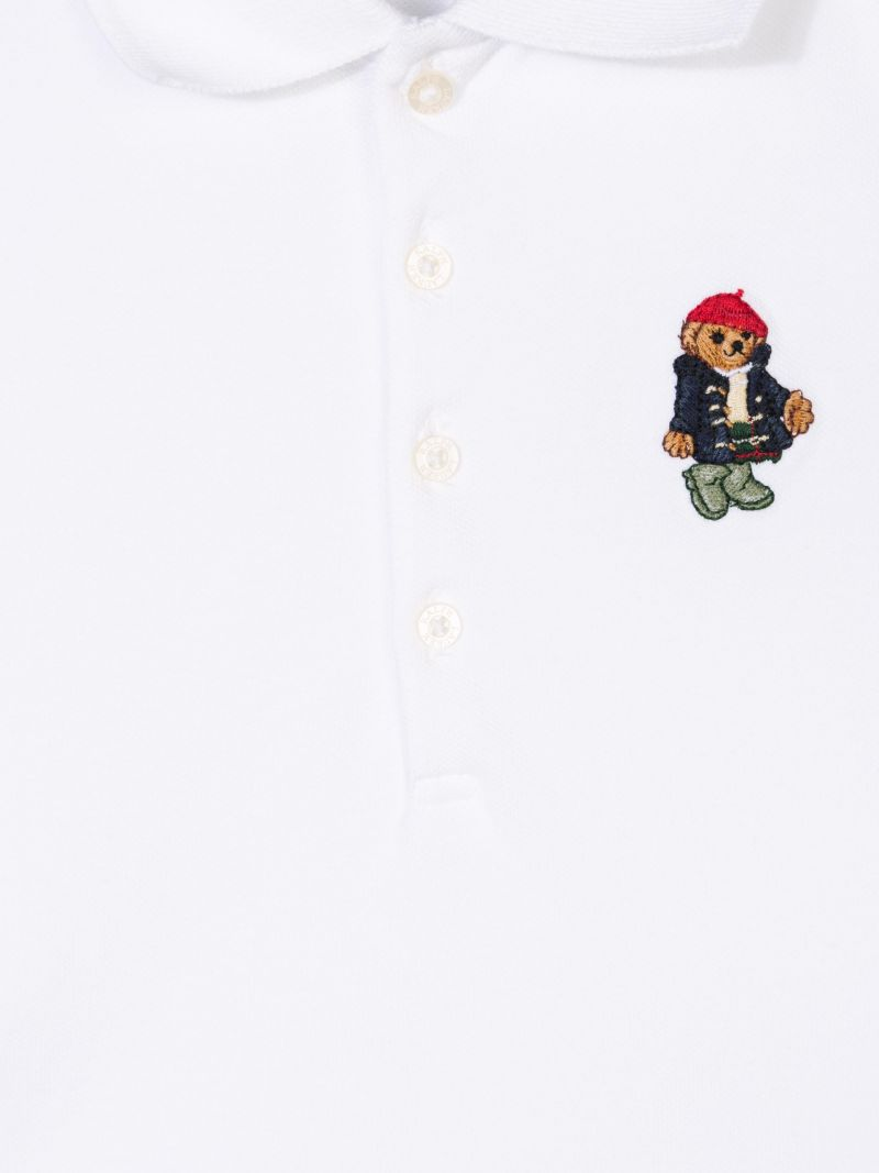 RALPH LAUREN KIDS: Polo Bear embroidered piquet polo shirt Color White_3