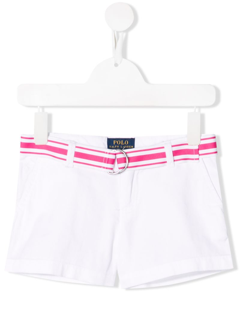 RALPH LAUREN KIDS: cotton twill shorts with contrasting belt Color White_1