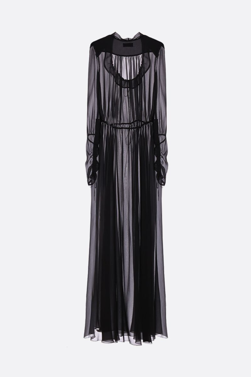 SAINT LAURENT: crepe de chine long dress Color Black_3