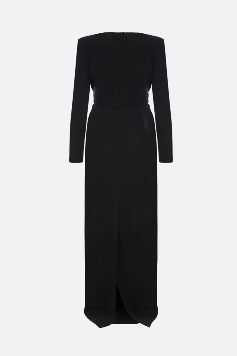 SAINT LAURENT: sablè long dress with draped detail Color Black_2