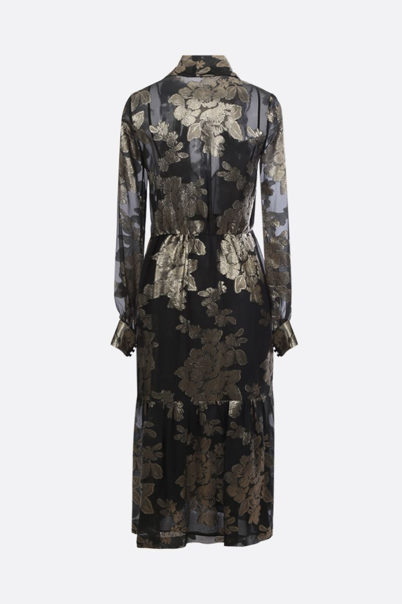 SAINT LAURENT: floral embroidered georgette long dress_2