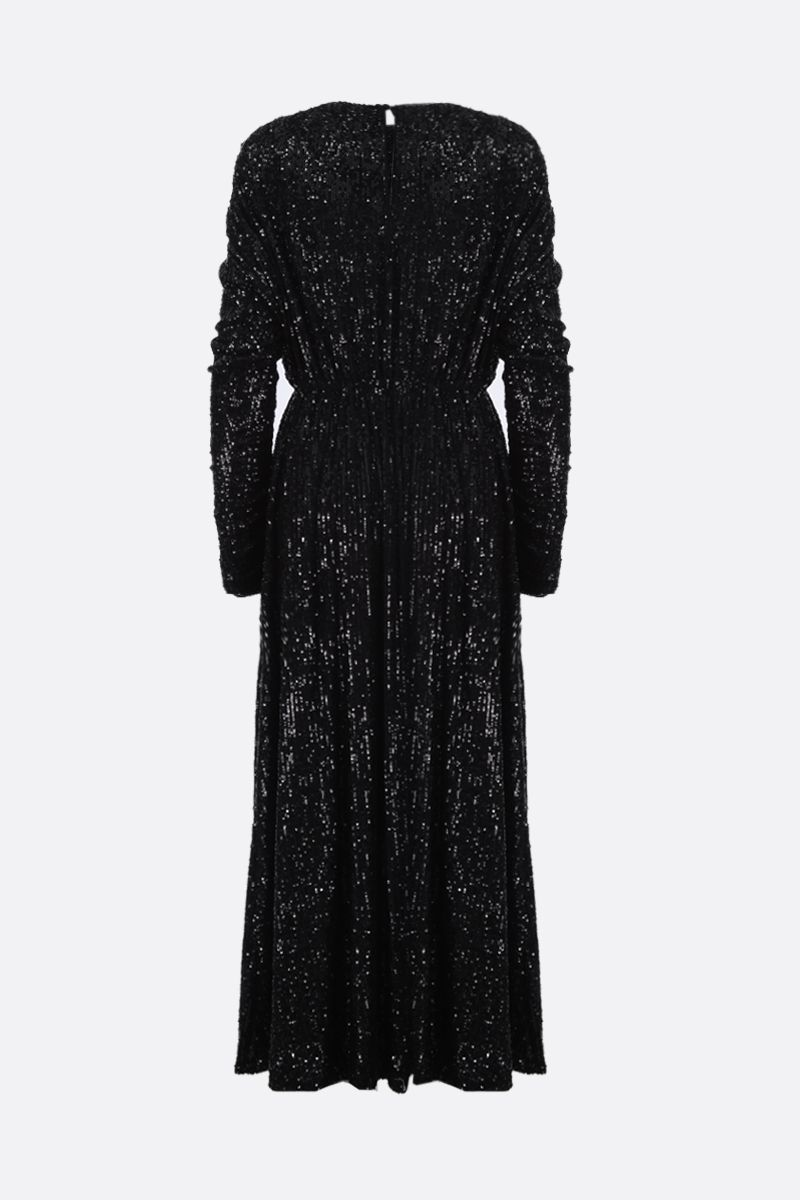 SAINT LAURENT: sequinned fabric long dress Color Black_2