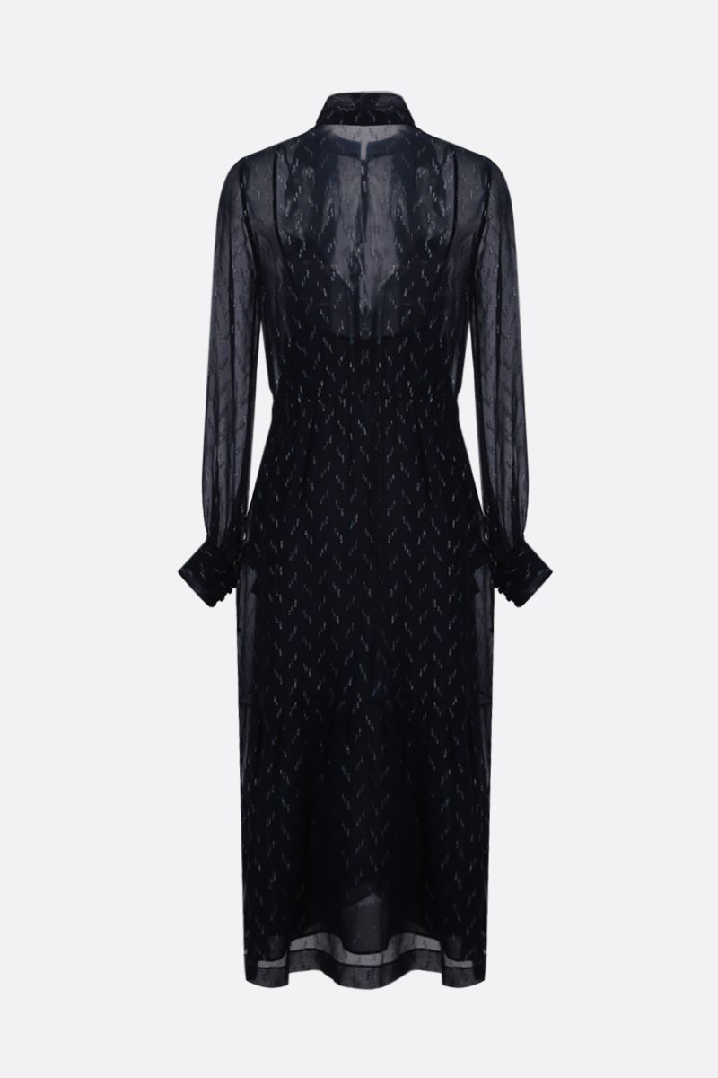 SAINT LAURENT: graphic embroidered crepe long dress_2