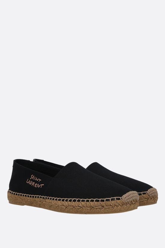 SAINT LAURENT: logo-embroidered canvas espadrilles Color Black_2