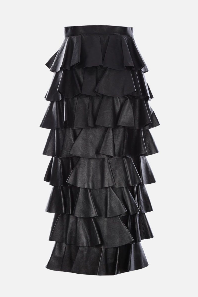 SAINT LAURENT: nappa leather flounced skirt Color Black_2