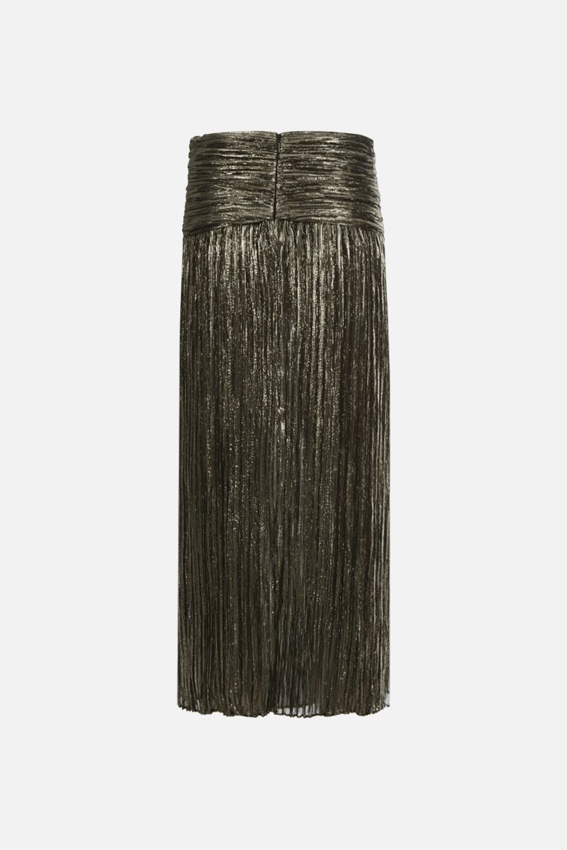 SAINT LAURENT: lurex silk long pleated skirt Color Black_2