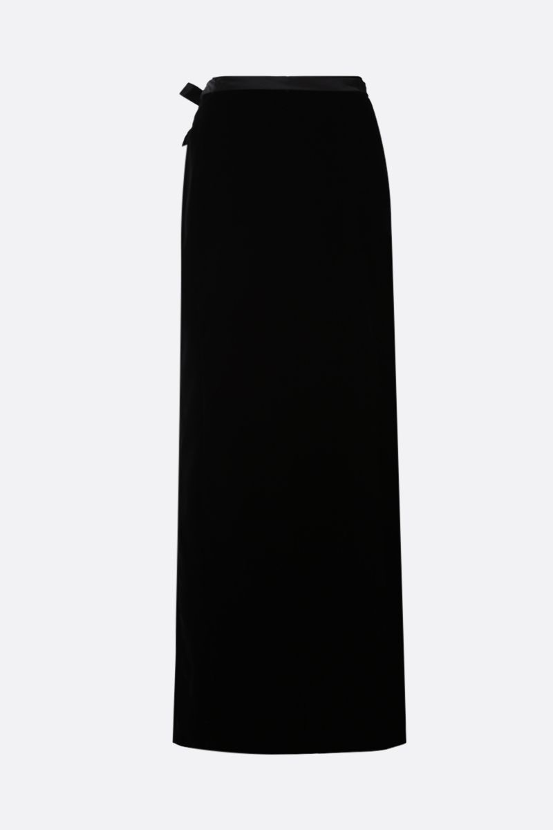 SAINT LAURENT: slit-detailed velvet long skirt Color Black_2