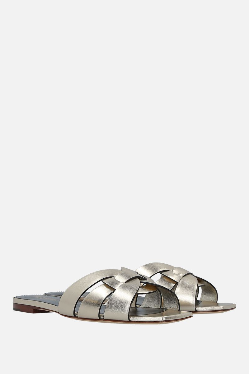 SAINT LAURENT: Tribute laminated leather flat sandals Color Silver_2