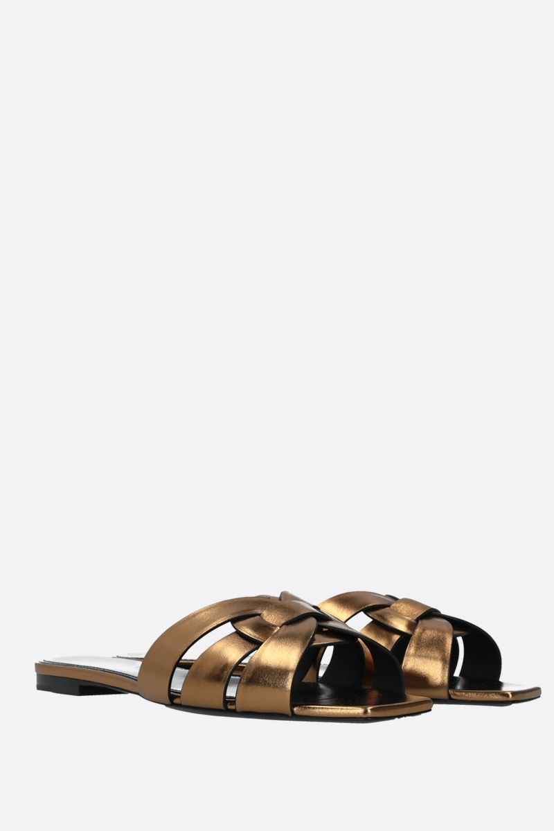 SAINT LAURENT: Tribute laminated leather flat sandals Color Gold_2