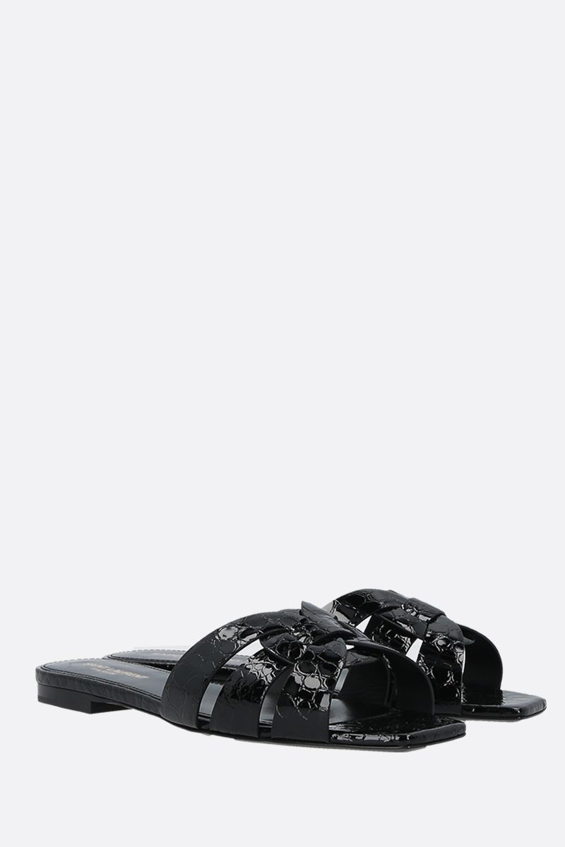 SAINT LAURENT: Tribute crocodile embossed leather flat sandals Color Black_2