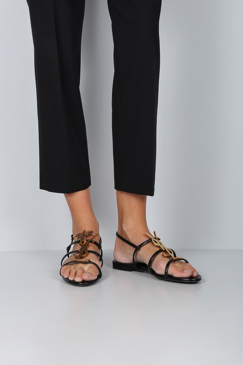 SAINT LAURENT: Cassandra flat sandals in smooth leather Color Black_2