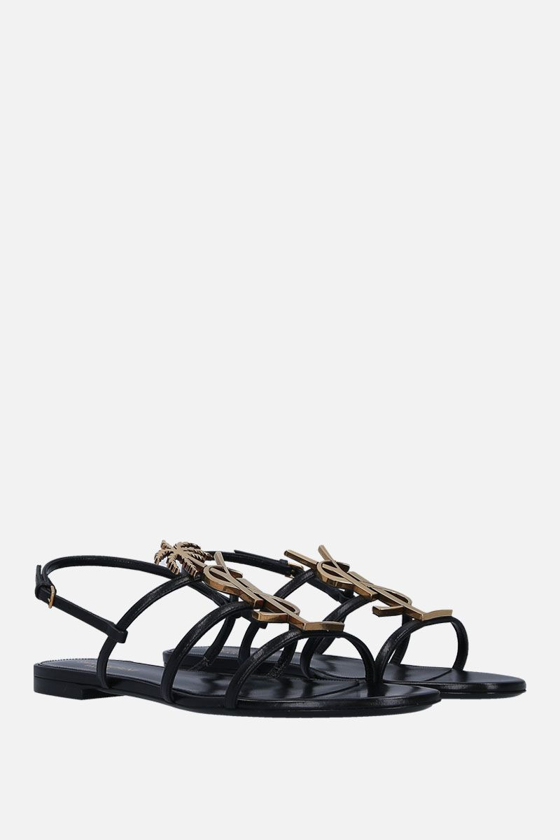 SAINT LAURENT: Cassandra flat sandals in smooth leather Color Black_3