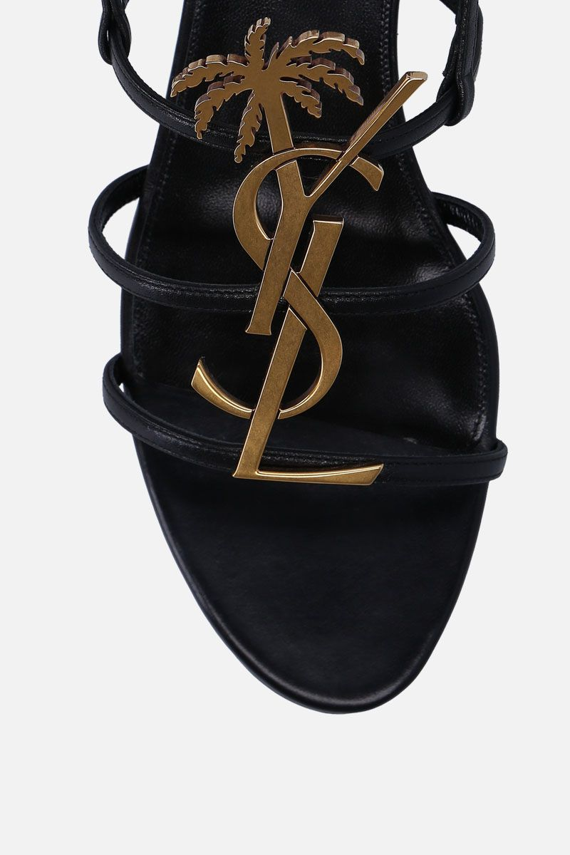 SAINT LAURENT: Cassandra flat sandals in smooth leather Color Black_5