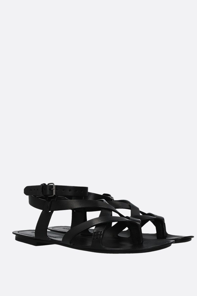 SAINT LAURENT: Culver thong sandals in smooth leather Color Black_3