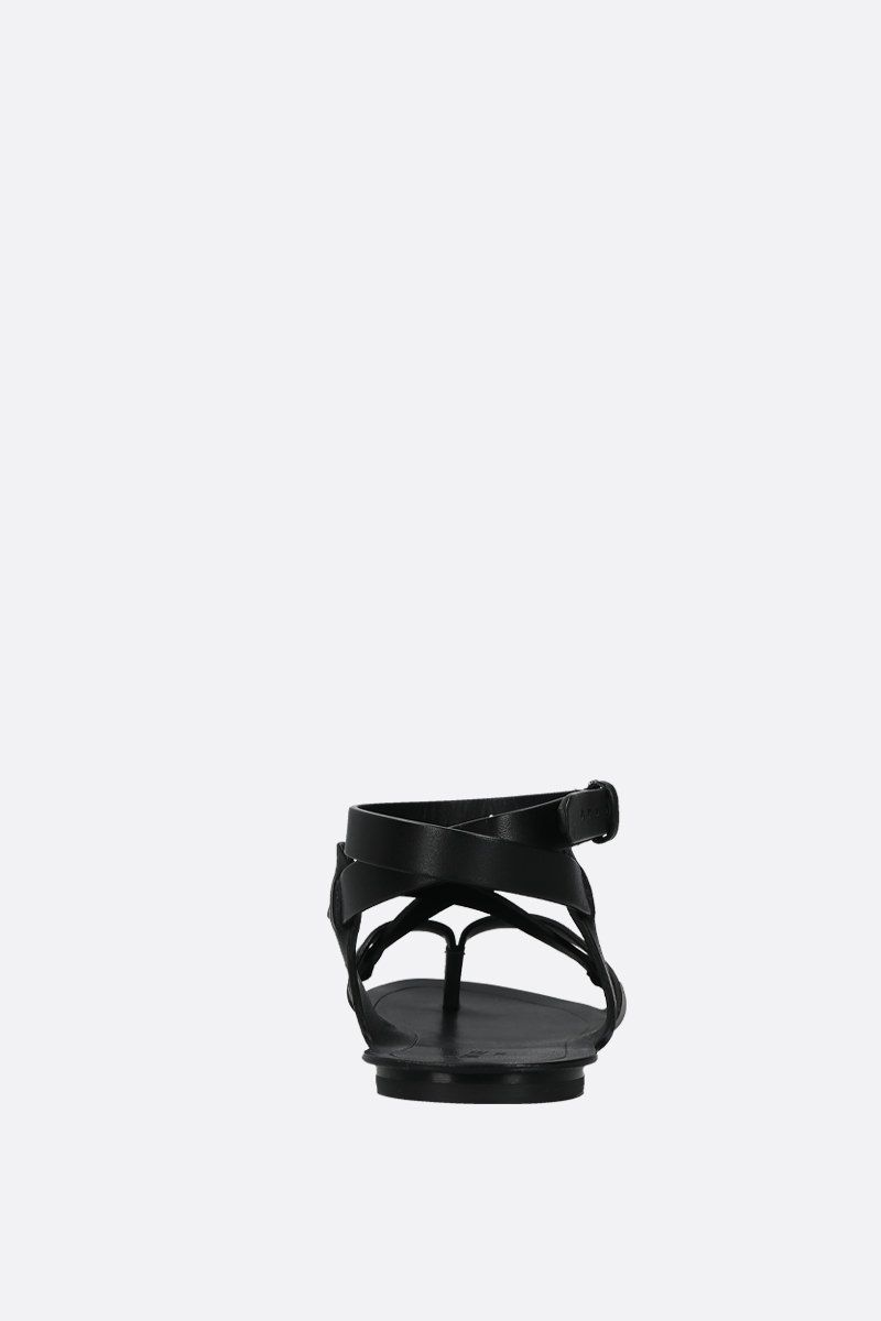 SAINT LAURENT: Culver thong sandals in smooth leather Color Black_4