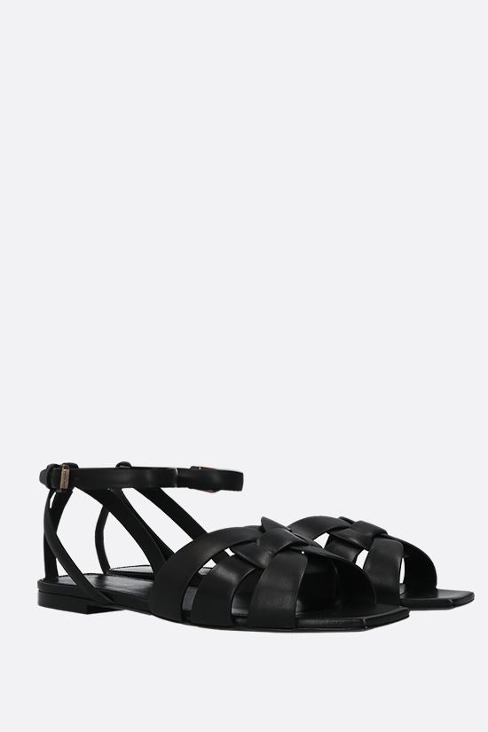 SAINT LAURENT: Tribute smooth leather flat sandals Color Black_2