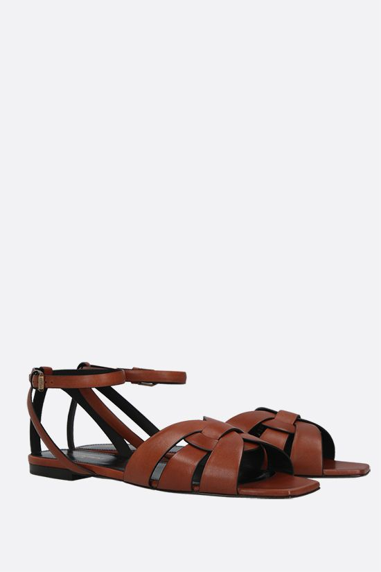 SAINT LAURENT: Tribute smooth leather flat sandals_2