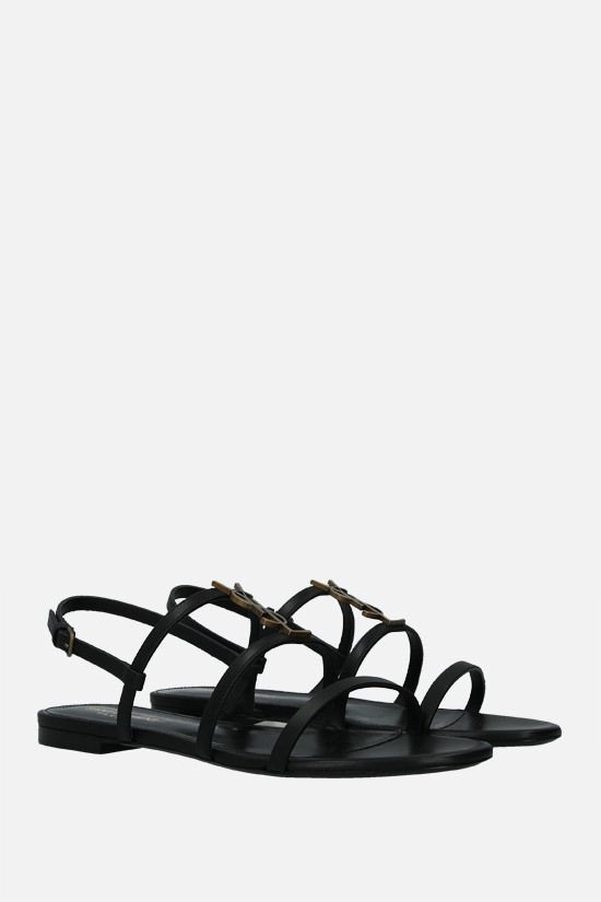 SAINT LAURENT: Cassandra smooth leather flat sandals Color Black_2