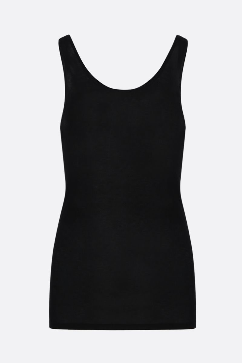 SAINT LAURENT: rib cotton blend tank top Color Black_2