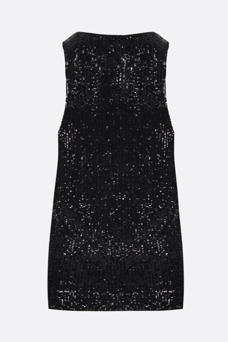 SAINT LAURENT: loose-fit sequinned fabric tank top Color Black_3