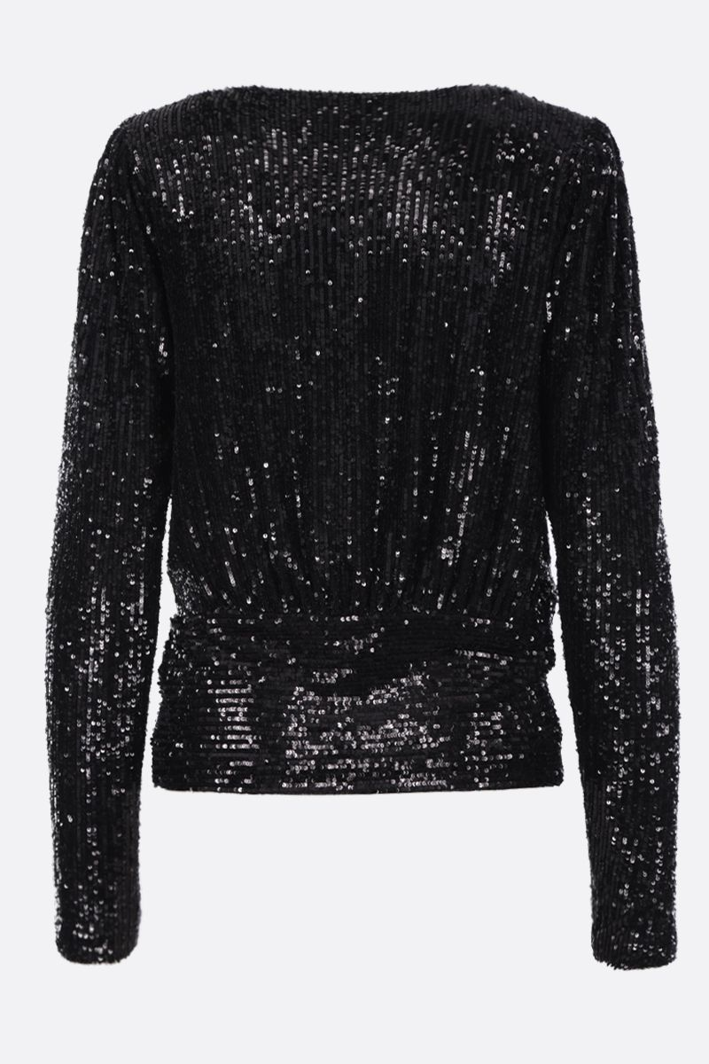 SAINT LAURENT: sequinned fabric wrap top Color Black_3