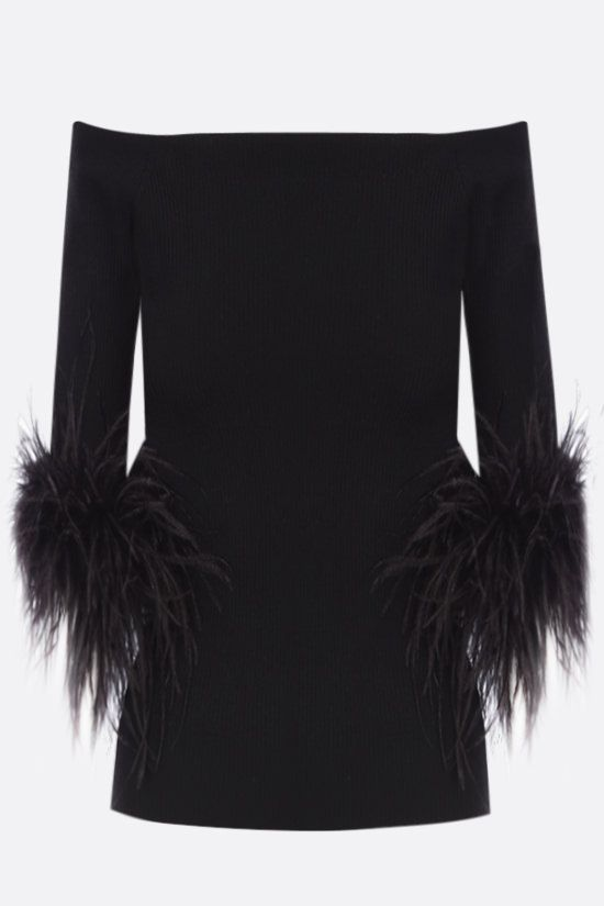 SAINT LAURENT: feather-detailed stretch wool top Color Black_2