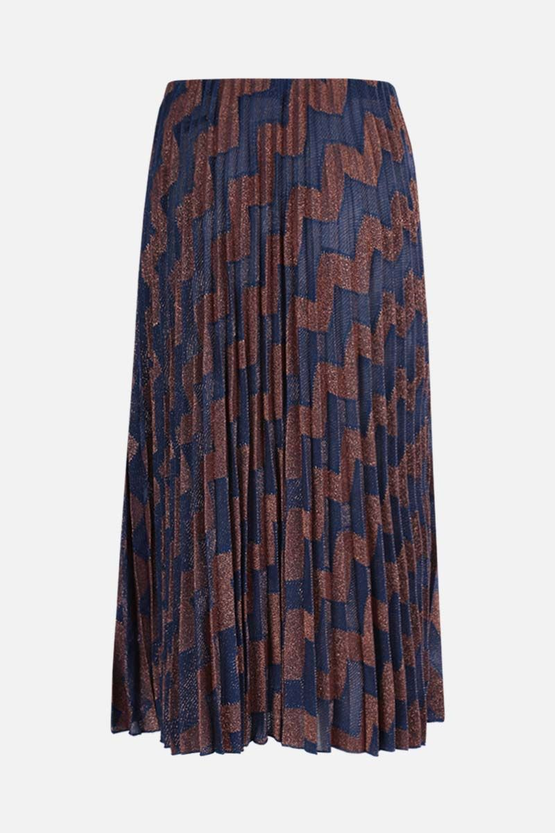 M MISSONI: zigzag-motif lightweight knit pleated skirt Color Multicolor_2