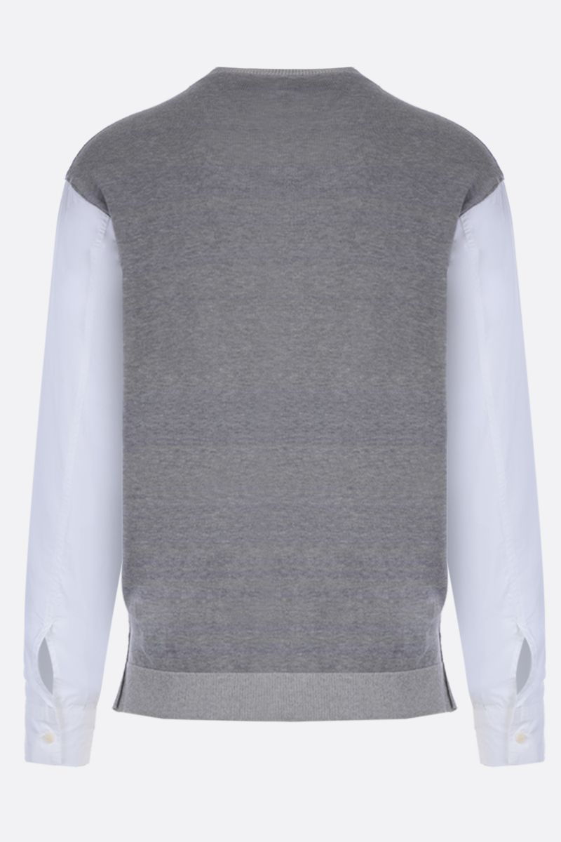 MAISON FLANEUR: cotton jacquard pullover with contrast sleeves Color Multicolor_2