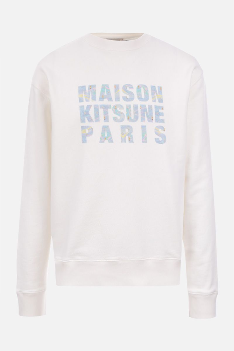 MAISON KITSUNÈ: Maison Kitsunè Hologram cotton sweatshirt Color White_1