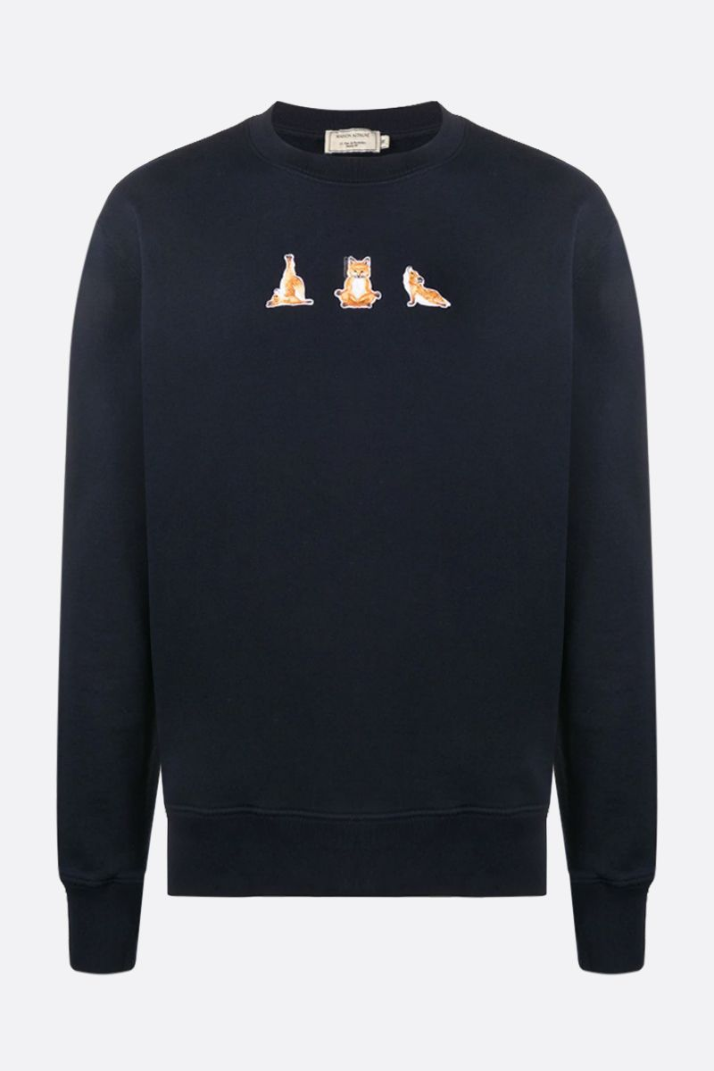 MAISON KITSUNÈ: Yoga Fox cotton sweatshirt Color Blue_1