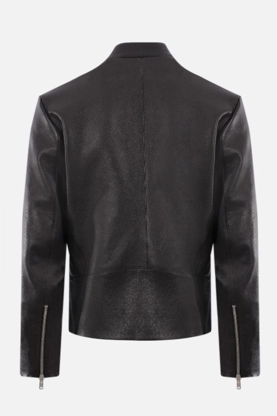 MAISON MARGIELA: grainy leather biker jacket Color Black_2