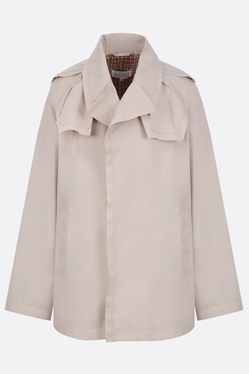MAISON MARGIELA: cotton blend single-breasted trench coat Color Neutral_1
