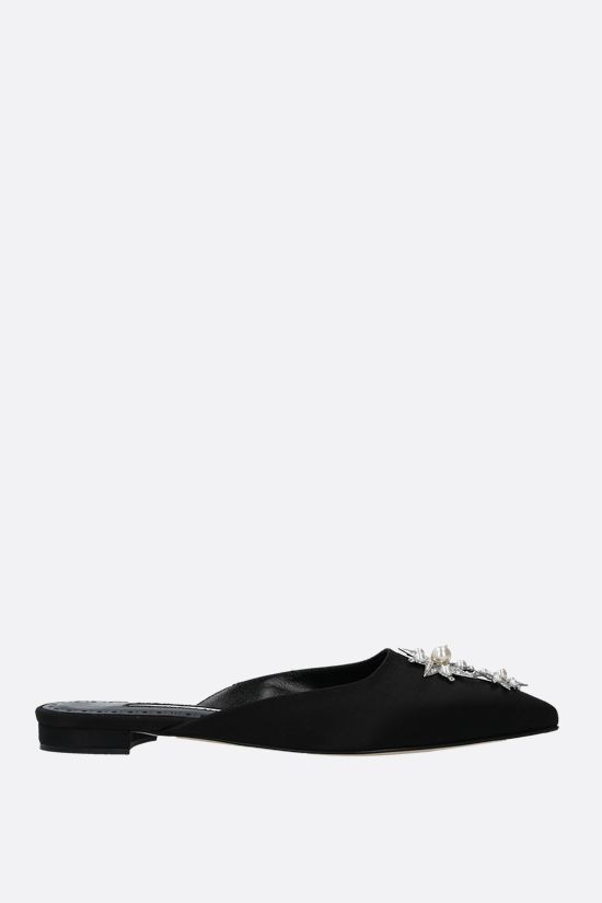 MANOLO BLAHNIK: Beanza satin slippers Color Black_1