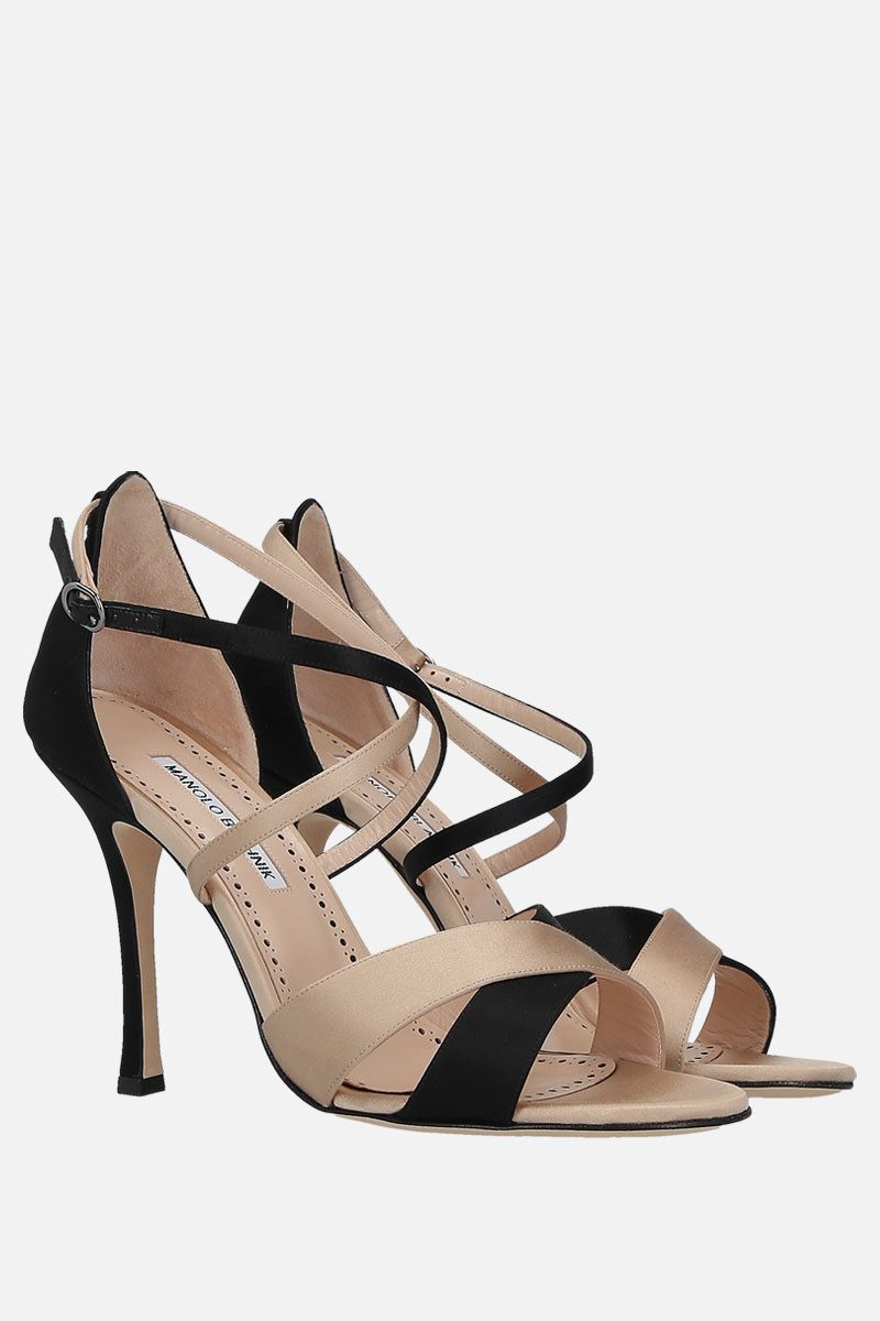 MANOLO BLAHNIK: Anna bicolour satin sandals_2