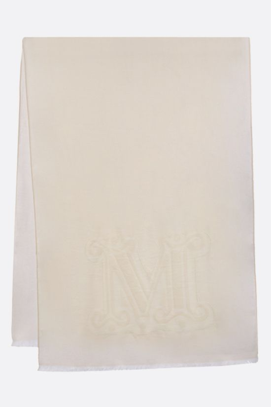 MAX MARA: Liuto2 wool silk blend stole Color White_2